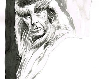 The Hobbit - Beorn - original ink sketch