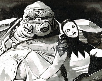 Star Wars - The Force Awakens - Grumgarr and Bazine Netal original ink sketch