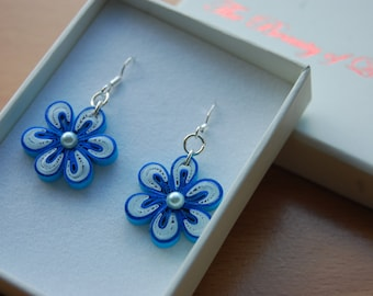 Quilled earrings -  Malaysian flower red/ blue/ green