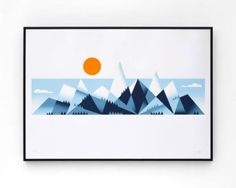 Mountains A2 limited edition screen print, hand-printed in 4 colours