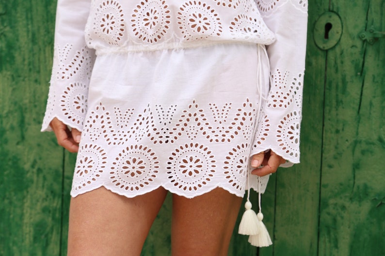 White Ibiza tunic dress in soft cotton with lace embroidery