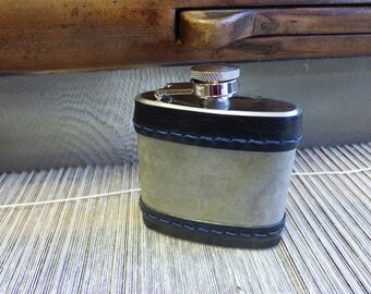 "Hip Flask ""Slated"" - Real Slate with Black leather Trim"