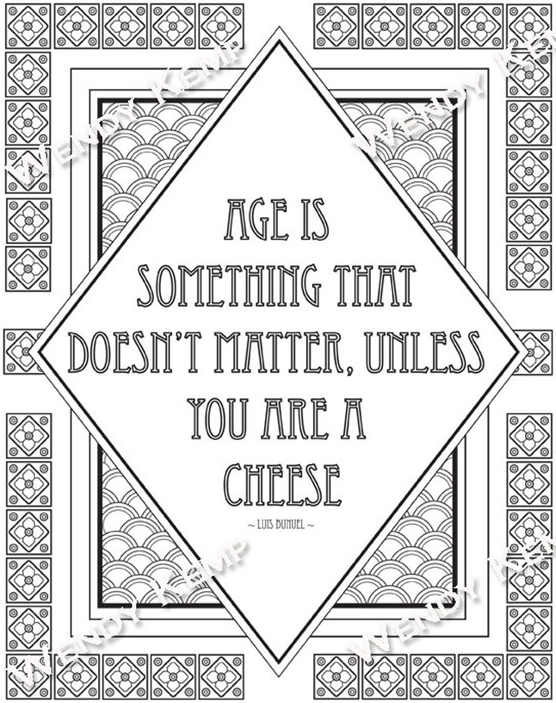 Age Doesnt Matter Quote Art Deco Colouring Page For Etsy