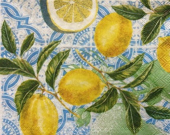 Summer paper Napkins 4 Stunning Lemons Paper Napkins Serviettes Party Napkins Crafts Supplies Real Lemon Branches Journal Napkins New