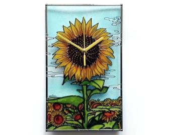 Merveilleux Sunflower Decor, Kitchen Clock, Painted Glass Art, Sunflower Wall Decor,  Floral Clock, Cottage Decor, Flower Artwork, Sunflower Decoration
