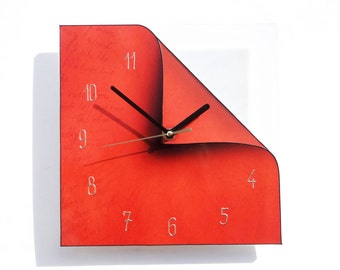 Modern Wall Clock, Red Clock, Kitchen Wall Clock, Oversized Wall Clock, Handmade Clock, Wall Decoration, Kitchen Wall Decor, Quirky Derdor