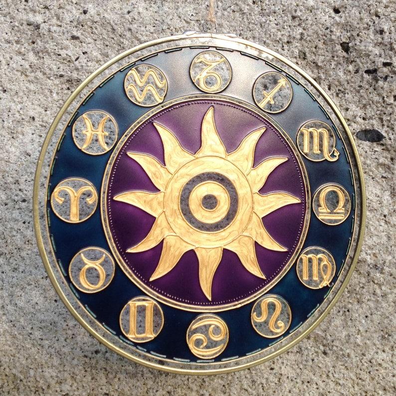 Astrology Suncatcher, Astro Gift, Astrology Lovers, Constellation Signs,  Zodiac Circle, Zodiac Painting, Sun Painting, Astrology Gift