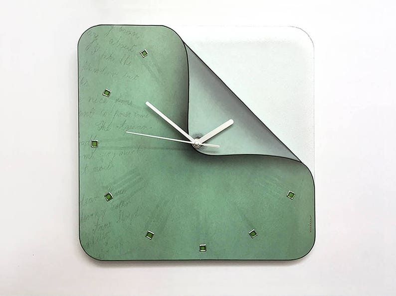 Green Dust Decor Square Wall Clock Wall Decor Boho Clock Etsy