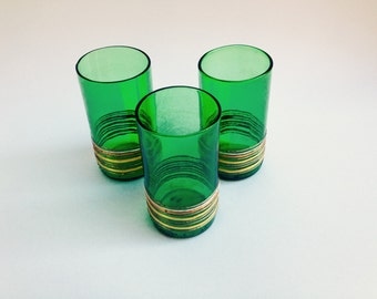 Set of 3 Recycled Glasses, Wine Bottle Glasses, Bar Gift, Birthday Glasses, Juice Glasses, Party Glasses, Art Drinkware Set, Glass Houseware