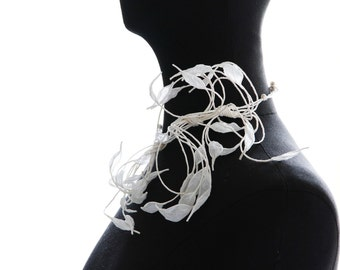white paper petals leaves light, anti allergy necklace wedding