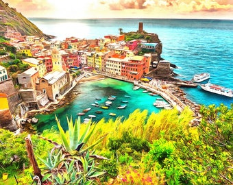Italy Portofino Coast Watercolor Painting ocean sea landscape city beach acrylic oil rustic venice europe italian home decor wall art print