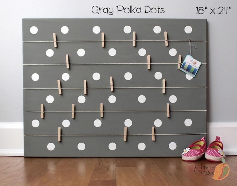 Gift Idea For Teen Girl, Bulletin Board, Display Board, Place Card Display,  Memo Holder, Office organizer Kids Room Art Gray Dots Home decor