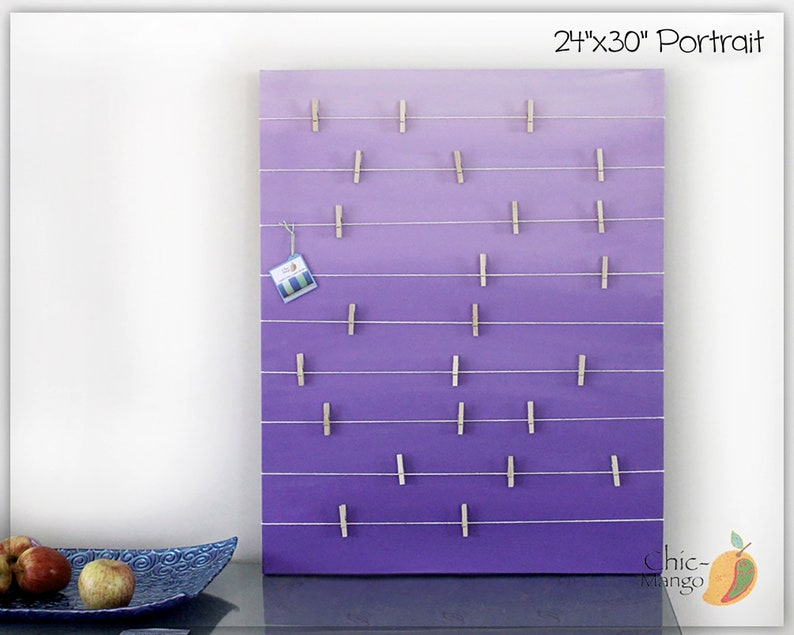 Bulletin Board  Memo Holder  Purple Ombre  Kids Room Decor image 0