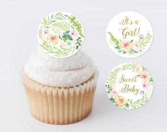 Pink Floral Cupcake Toppers Printable Baby Shower Cupcake Rounds Floral Favor Labels Greenery Favor Tags Favor Stickers Shower Decor 262