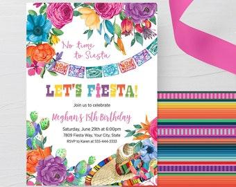 Editable Mexican Fiesta Invitation  Fiesta Birthday Invitation  Editable PDF template.
