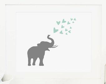 Elephant Printable Elephant Blowing Hearts Gray and Mint Nursery Decor Elephant Nursery Wall Art Gender Neutral Nursery Wall Art Heart Print