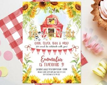 Sunflower Farm Birthday Party Invitation, Editable Template, Girl Farm Invitation, Barnyard Party, Farm Animals Rustic Farm Invite Corjl 269