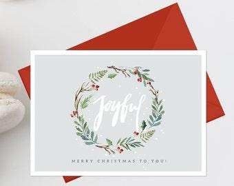 christmas card printable christmas greeting card joyful christmas wreath holiday card rustic christmas card christmas merry christmas 336 - Merry Christmas Cards Printable