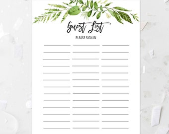 image regarding Printable Wedding Guest Lists named Wedding day visitor listing Etsy