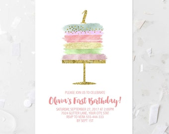 Birthday cake invite etsy any age first birthday party invitation printable birthday cake invitation whimsical girl birthday party invite gold confetti rainbow pastel filmwisefo