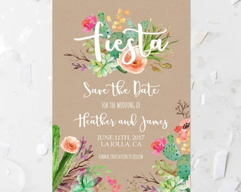 bff72a20a790 Fiesta Save The Date Printable Invitation Succulent Save The Date Invite  Kraft Wedding Announcement Cactus Save The Date Pink Floral 240