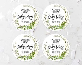 Personalized Greenery Favor Labels Printable Green Foliage Baby Shower Favor Tags Greenery Baby Shower Favor Stickers Shower Decoration 263