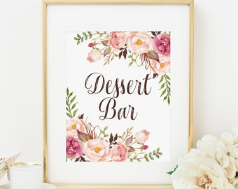 f19860c6ab23 Bohemian Dessert Bar Sign Printable Pink Floral Bridal Shower Decoration  Boho Baby Shower Sign Boho Wedding Dessert Table Sign 265