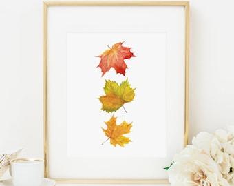 Fall Leaves Printable Fall Decor Fall Wall Art Thanksgiving Decor Fall Leaves Maple Leaf Print Thanksgiving Printable Fall Printable Orange