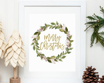 Christmas Printable Merry Christmas Print Christmas Wreath Wall Art Holiday Decor Christmas Decoration Christmas Decor Winter Wall Art 316
