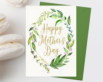 Happy Mother's Day Card Printable Mother's Day Greeting Card Greenery Mother's Day Print Watercolor Leaf Wreath Printable Mother's Day
