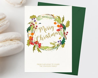Personalized Christmas Card Printable Merry Christmas Greeting Card Vintage Christmas Card Christmas Wreath Holiday Card Holly Wreath