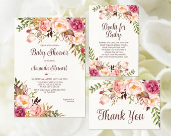 092d5c48e09e Bohemian Floral Baby Shower Invitation Printable Rustic Baby Shower Invite  Country Floral Baby Shower Invite Boho Pink Floral Blush 265