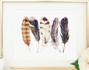 Feather Printable Tribal Feather Print Native American Feathers Southwestern Decor Feather Wall Art Tribal Nursery Decor Watercolor Feathers