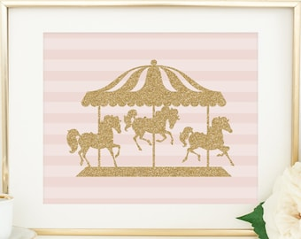 Carousel Printable Nursery Wall Art Horse Print Pink And Gold Girl Decor Glitter