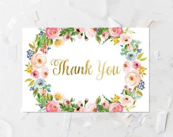 Pink Floral Thank You Card Printable Pink and Gold Thank You Note Baby Shower Thank You Note Wedding Thank You Card Blush Blush Flowers 233