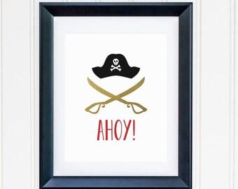 Pirate Printable Nursery Pirate Wall Art Pirate Decor Ahoy Pirate Sword Pirate Hat Cross and Bones Pirate Kid's Room Decor Boy Nursery Red