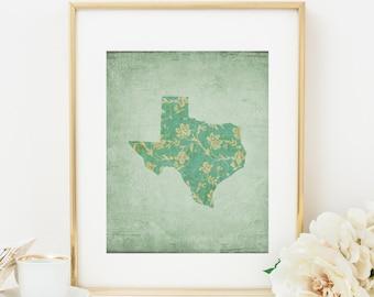 Texas Printable Texas State Wall Art Texas Decor Texas Silhouette Green Floral State Print Map Print Map Decor Map Wall Art Nursery Map Art