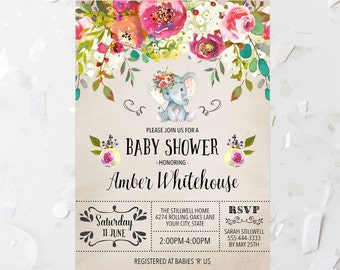 7ca5c669be6d Elephant Baby Shower Invitation Printable Floral Baby Shower Invite Jungle  Animal Shower Invitation Baby Girl Shower Invite Pink Flowers 244