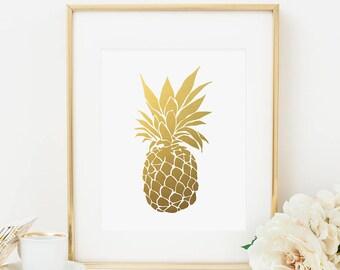 Pineapple Printable Pineapple Wall Art Gold Pineapple Print Hospitality Wall Art Tropical Wall Art Tropical Decor Fruit Prints  Gold Foil