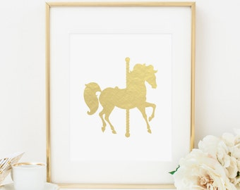 Carousel Horse Printable Nursery Wall Art Gold Decor Girl Playroom