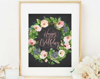 Pink Floral Happy Birthday Printable Birthday Party Decoration Pink Birthday Welcome Sign Girl Birthday Party Sign Birthday Poster 233