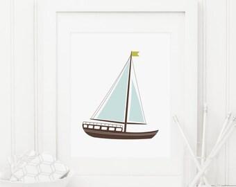 Sailboat Printable Nautical Nursery Decor Beach Theme Nursery Wall Art Boy Nursery Art Kid's Bathroom Decor Boat Wall Art Nursery Boat Print