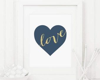 Heart Printable Blue Heart Print Navy Nursery Decor Love Quote Print Baby Girl Nursery Wall Art Boy Nursery Heart Print Love Print Gold Foil