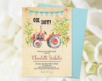 Tractor Baby Shower Etsy