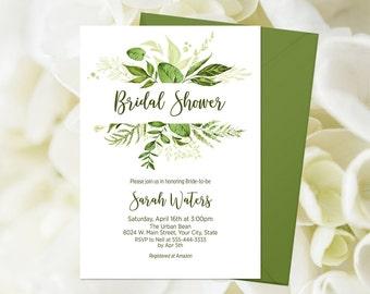 c07ba8887643 Greenery Bridal Shower Invitation Printable Green Foliage Wedding Shower  Invite Greenery Invitation Bridal Brunch Shower Green Leaves 263