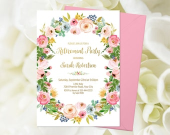 57814cd17128 Pink Floral Retirement Party Invitation Printable Bohemian Farewell Party  Send Off Party Boho Female Retirement Floral Wreath Blush 233