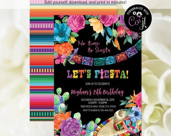 EDITABLE FILE Fiesta Birthday Party Invitation Lets Mexican Floral Invite Theme Corjl Template 353