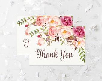 9f4f9fb66285 Bohemian Thank You Card Printable Boho Thank You Note Card Pink Floral  Wedding Thank You Bridal Shower Thank You Baby Shower Thank You 265