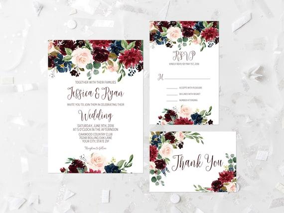 5b60e9bafea2 Bohemian Wedding Invitation Printable Boho Wedding Suite