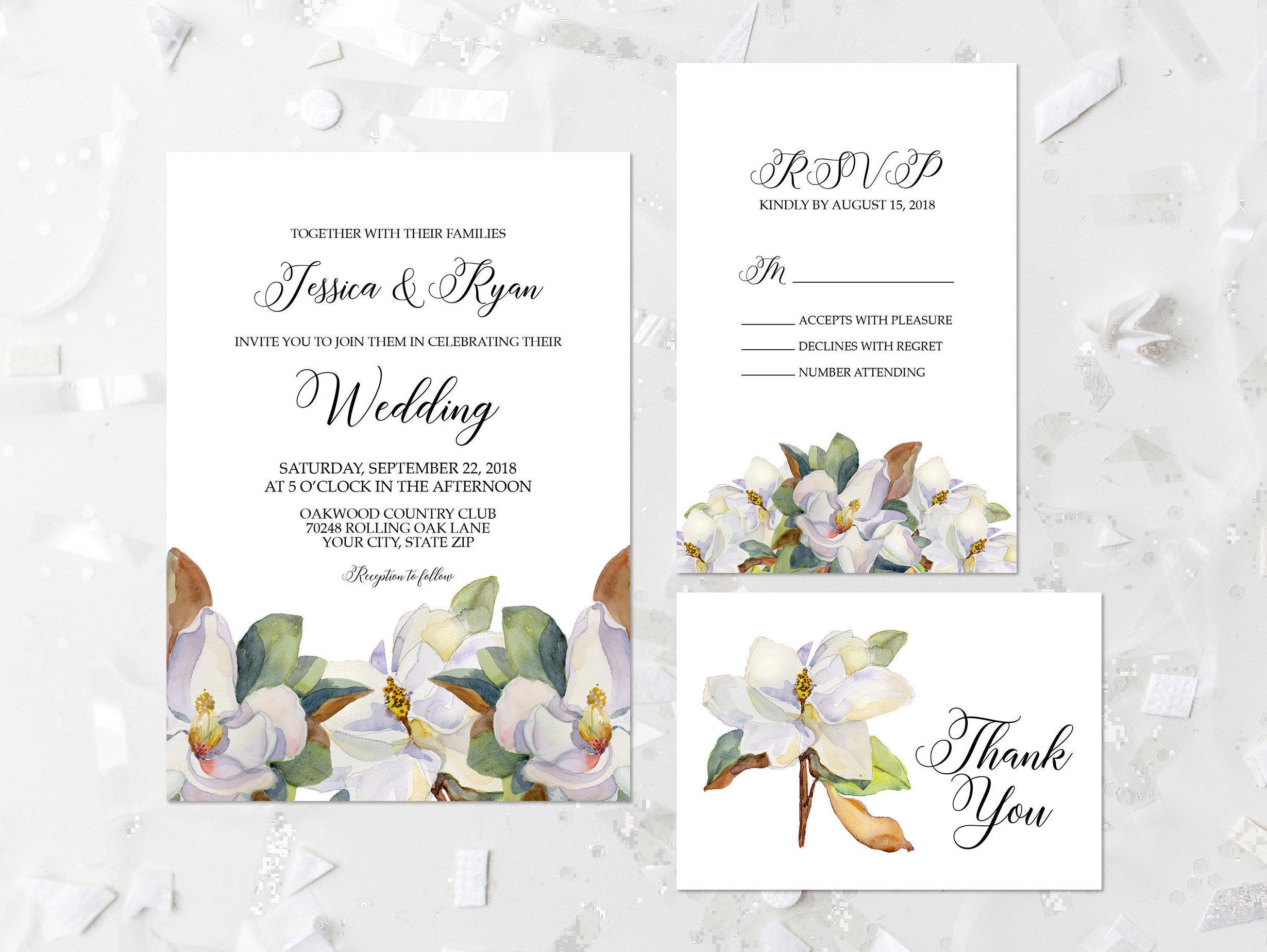 Magnolie Blumen Hochzeit Einladung Druckbare Magnolia Hochzeit Etsy